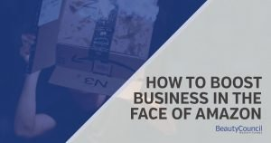 Man under Amazon delivery box with headline saying how to boost business in the face of amazon