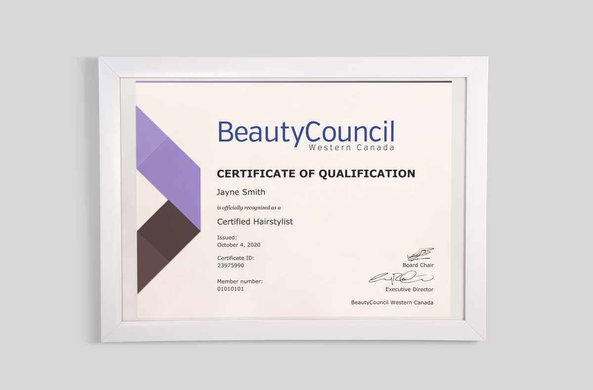 BeautyCouncil Certificate of Qualification on the wall in a frame