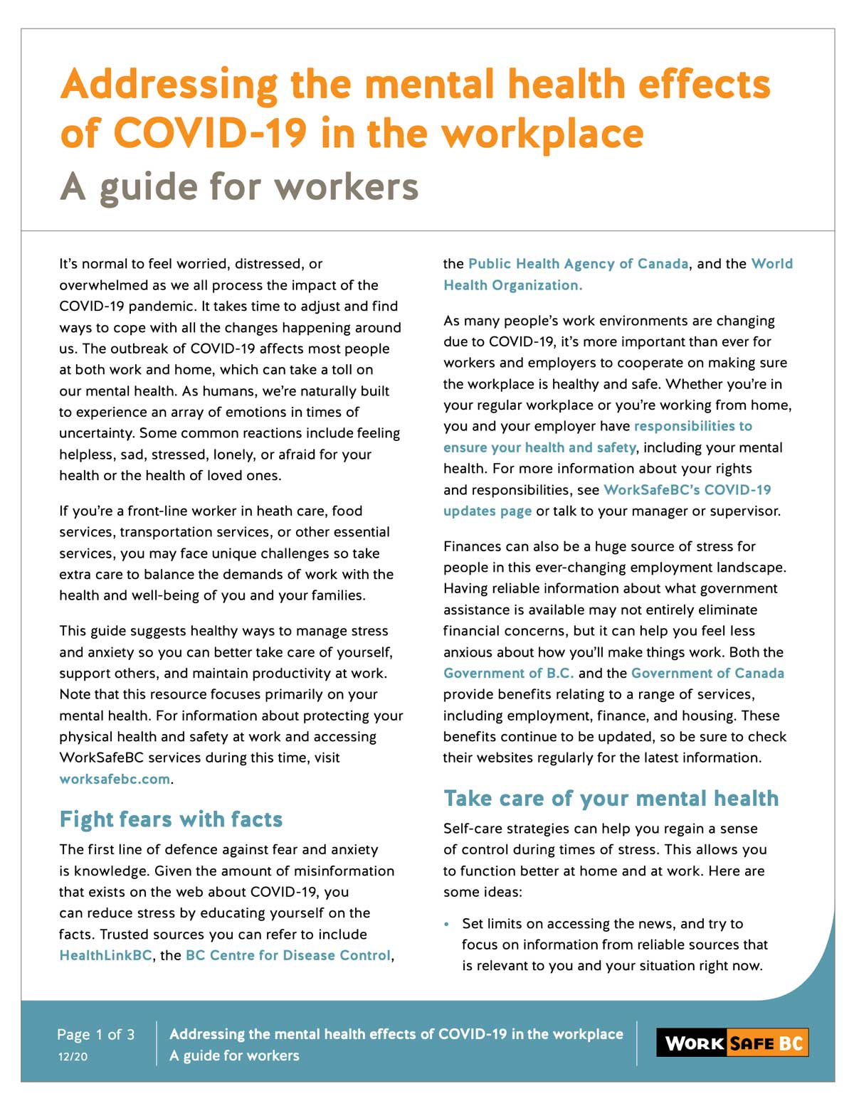 Addressing the mental health effects of COVID-19 in the workplace A guide for workers