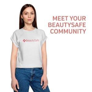Woman in Beautysafe t-shirt