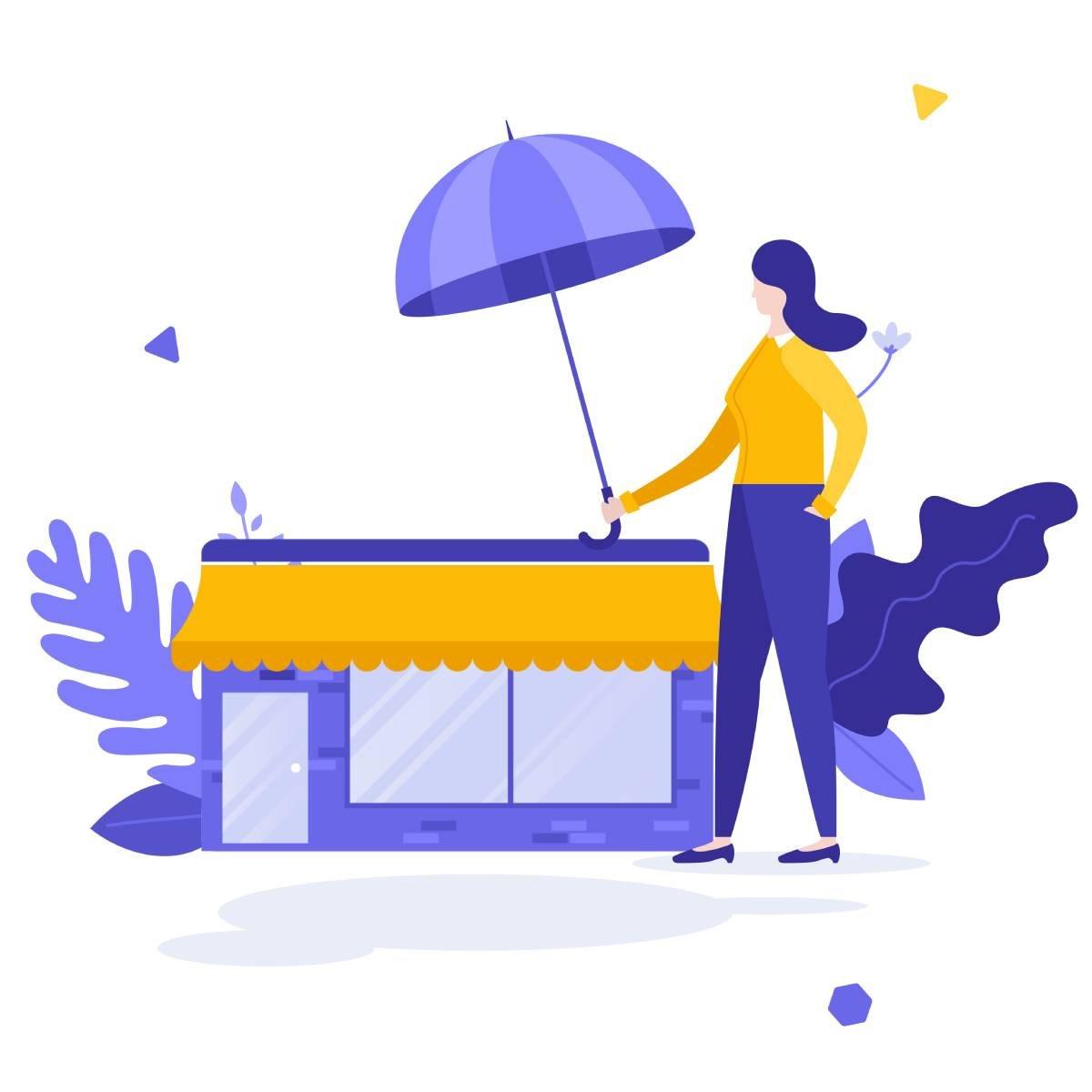 Woamn with umbrella over business