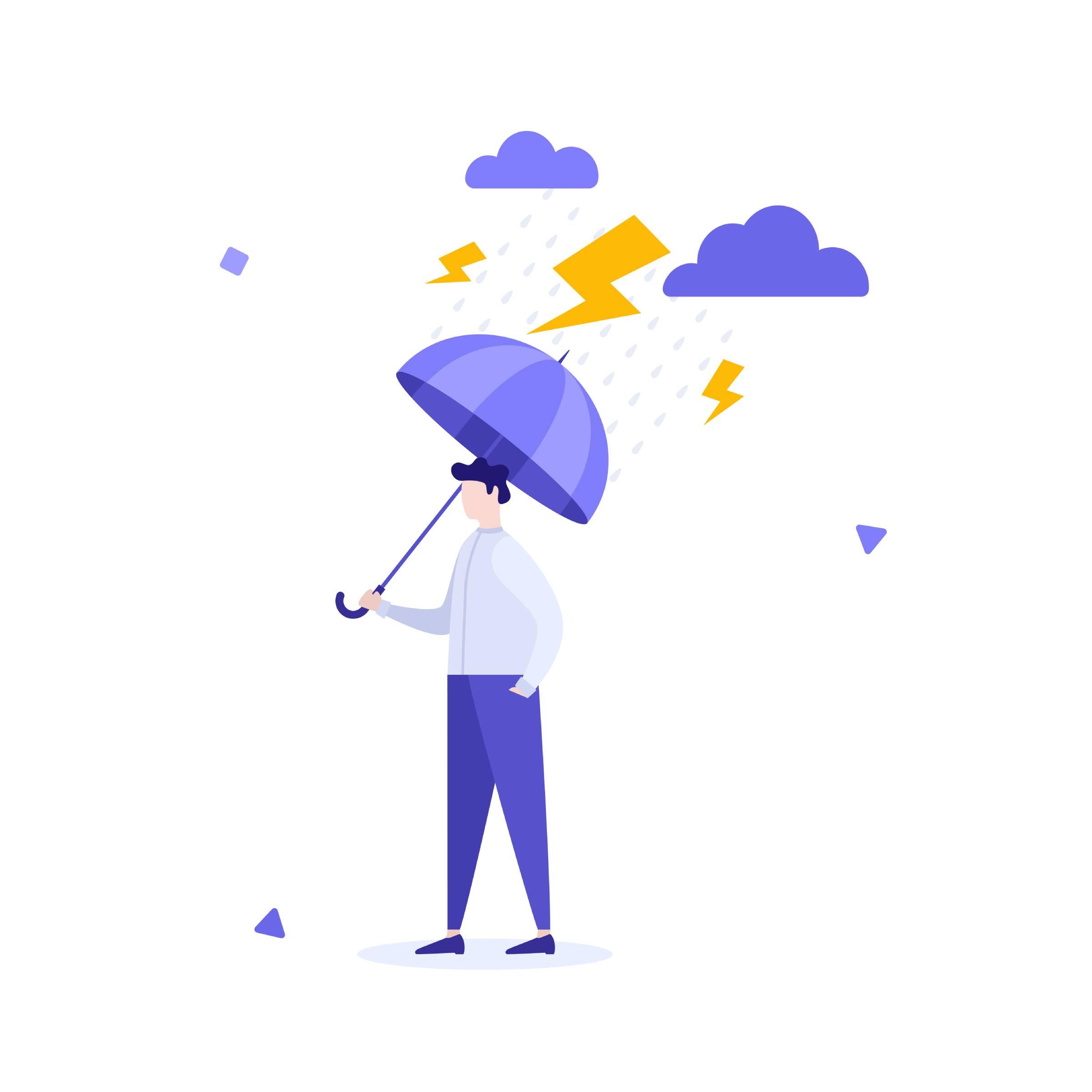 Illustration of a man holding an umbrella