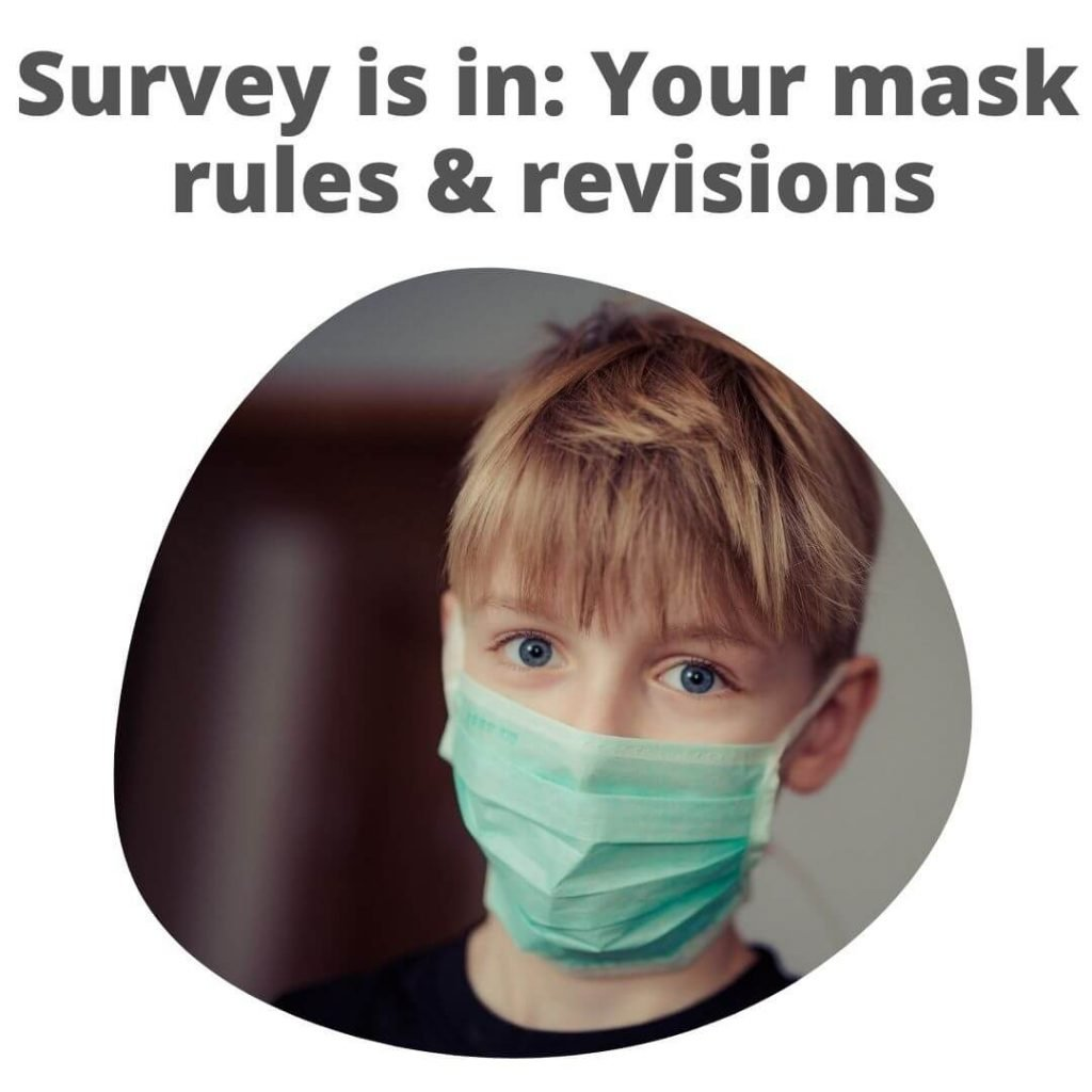 Boy with surgical mask on